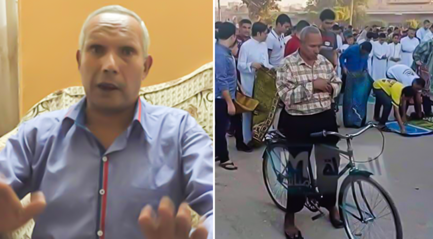 رجل مصري صلىّ العيد على دراجة هوائية ينفي نبأ وفاته!