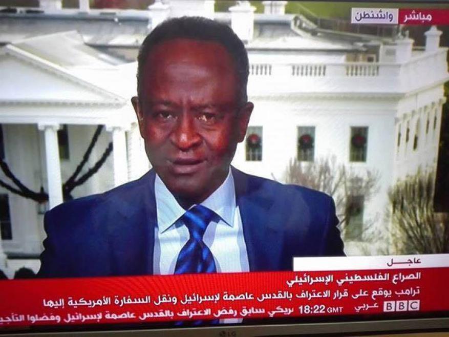 """مراسل"""" BBC"""" يبكي على الهواء بعد إعلان ترامب القدس عاصمة للاحتلال"""