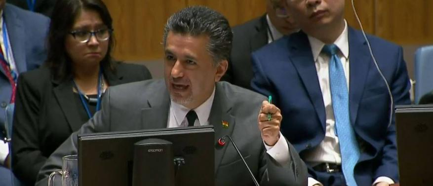مندوب بوليفيا يحرج مجلس الأمن خلال جلسة بشأن مجزرة غزة