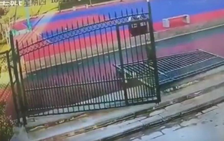 شاهد: سقوط بوابة تزن 300 كلغ على حارس أمن